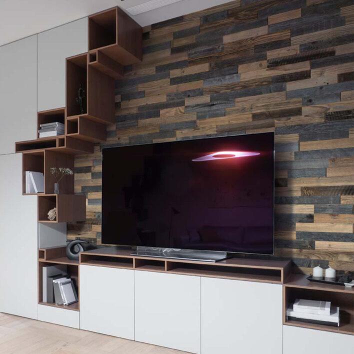Bardage de bois intérieur décoratif