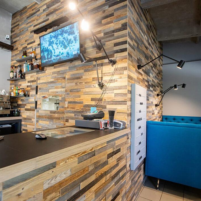 Comptoir bar bardage bois