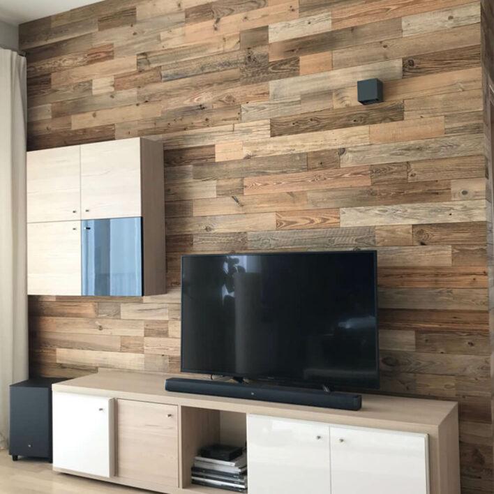 décor mur en bois salon
