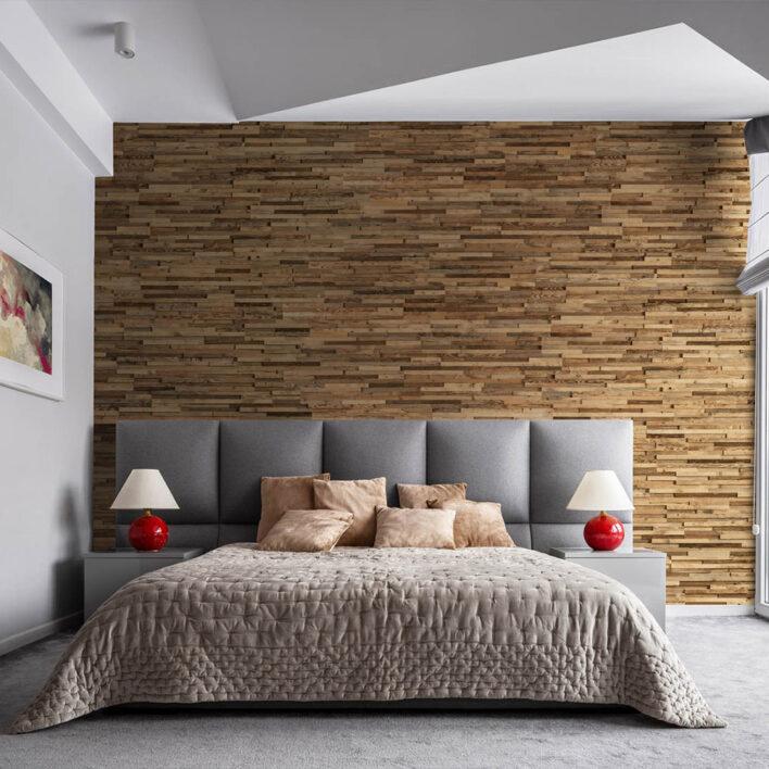 Décoration chambre mur en bois