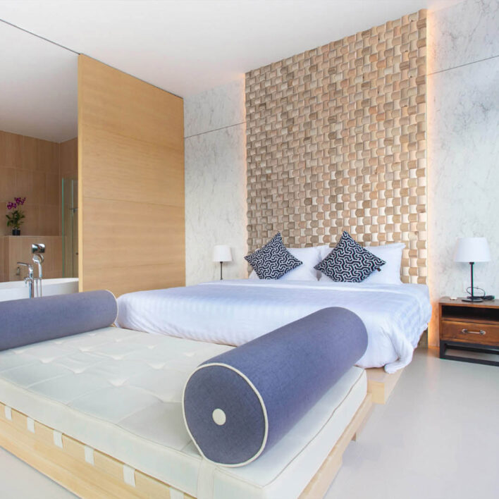 Mur bois tête de lit
