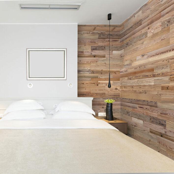 Mur de chambre en bois