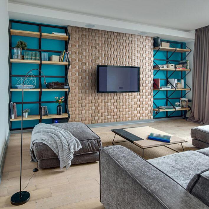 Mur intérieur bois salon