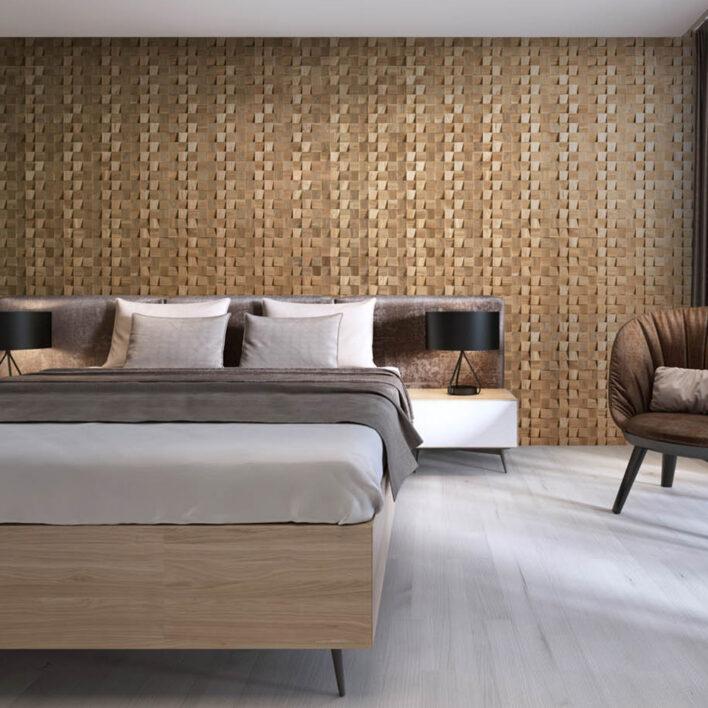 Panneau mural tête de lit bois