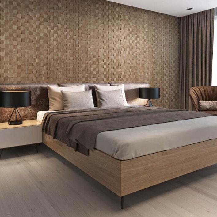 Tête de lit murale en bois