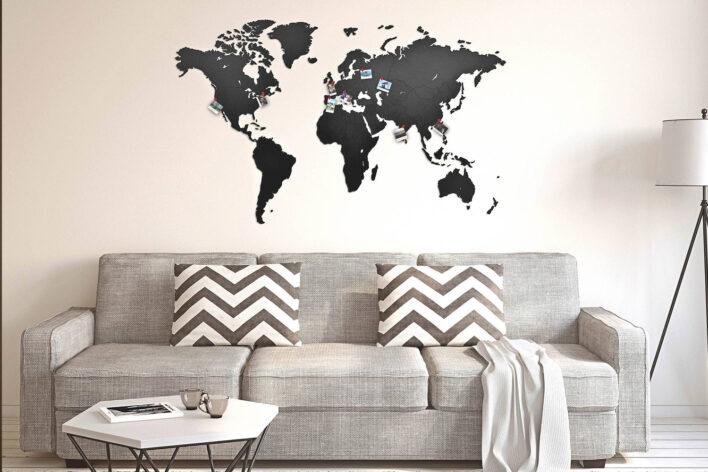 carte du monde décor noir