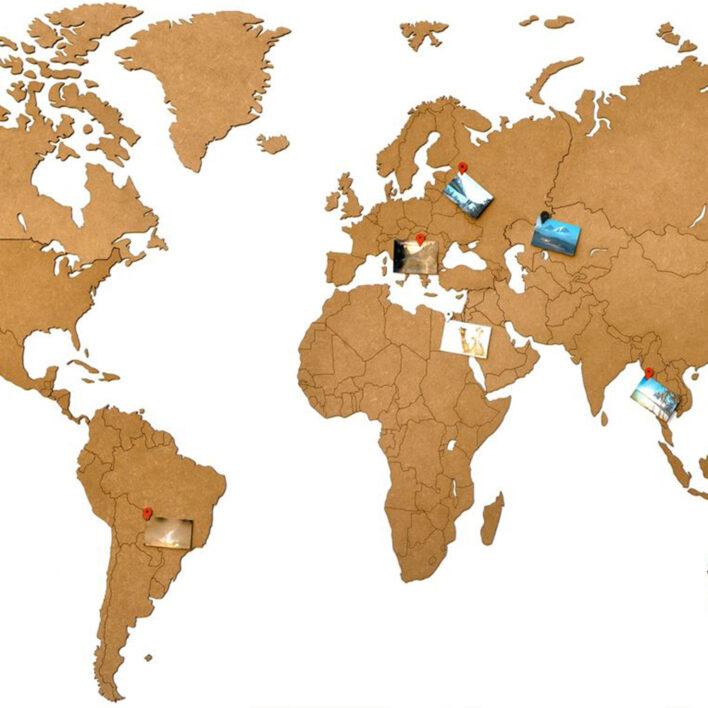 carte monde bois