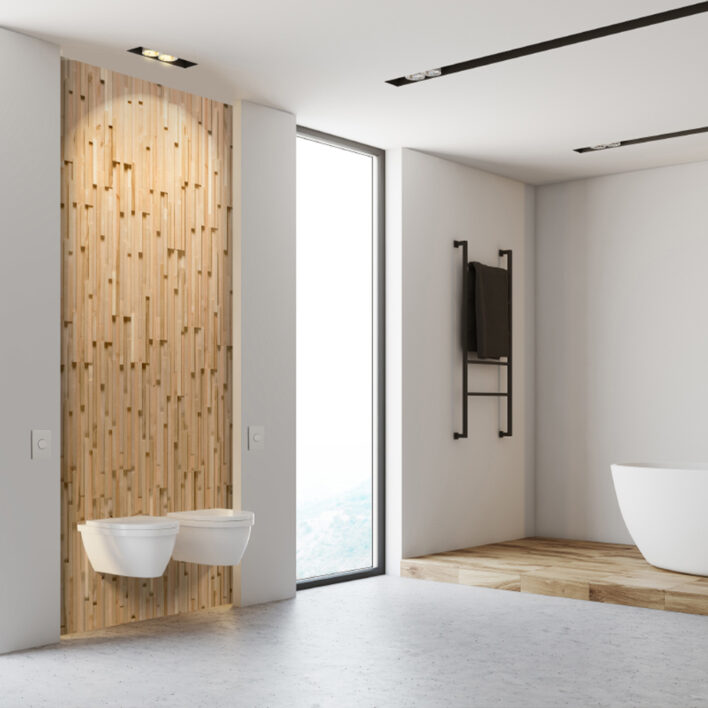 déco salle de bain tasseaux bois
