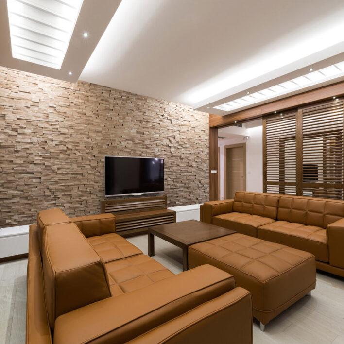 décoration mur bois salon