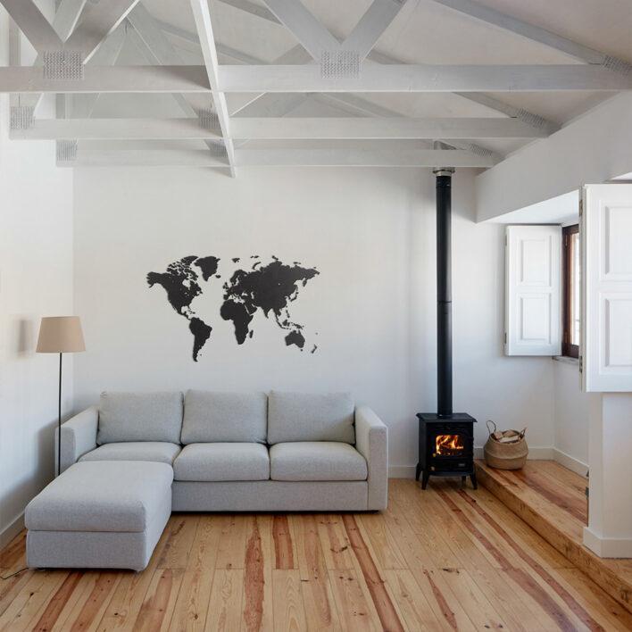 map monde noire deco