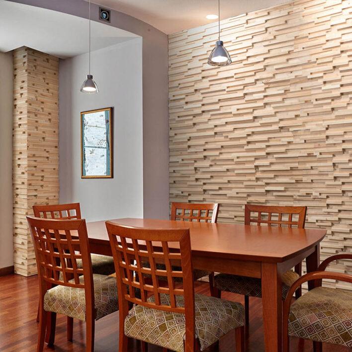 mur de tasseaux bois