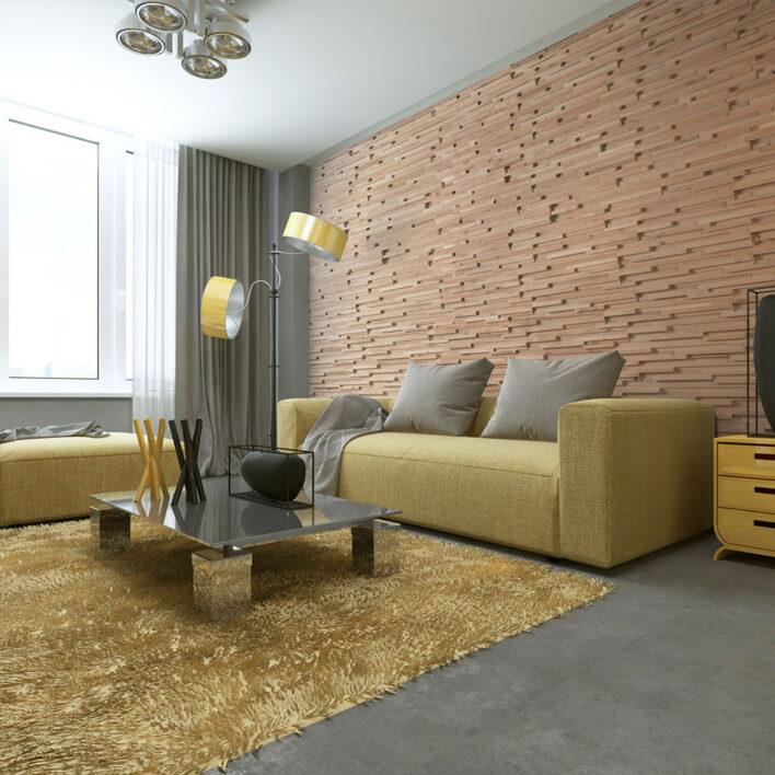 mur en tasseau de bois