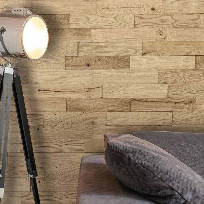 mur parement bois chene rustique nature