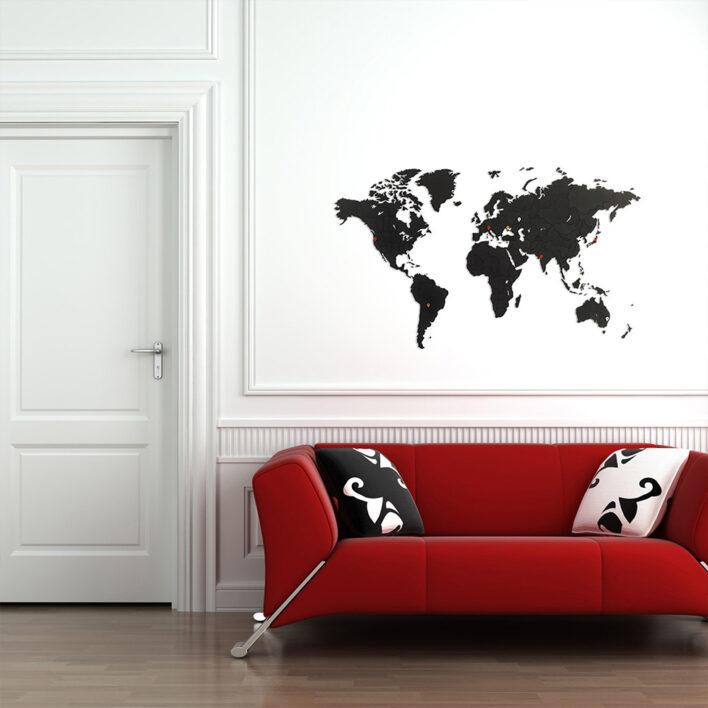 mur salon carte monde noir