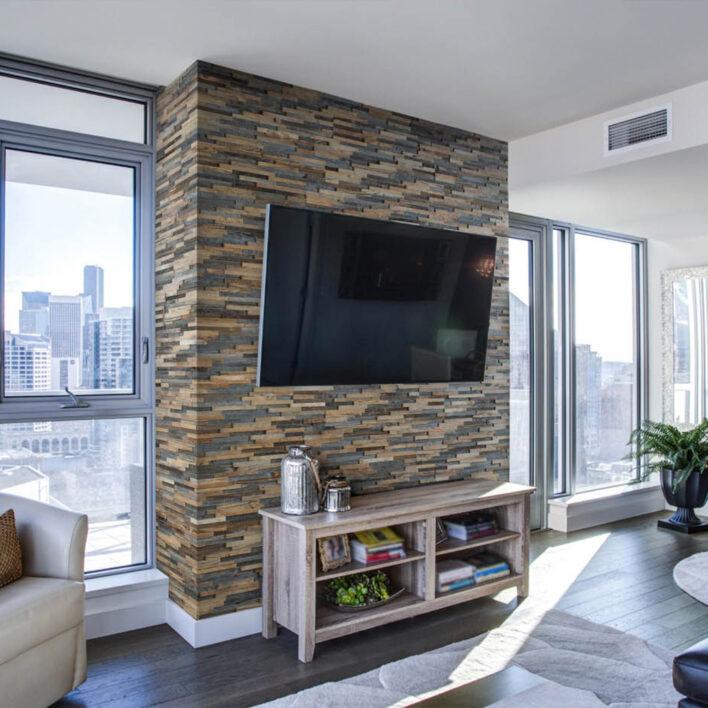 mur tv en bois