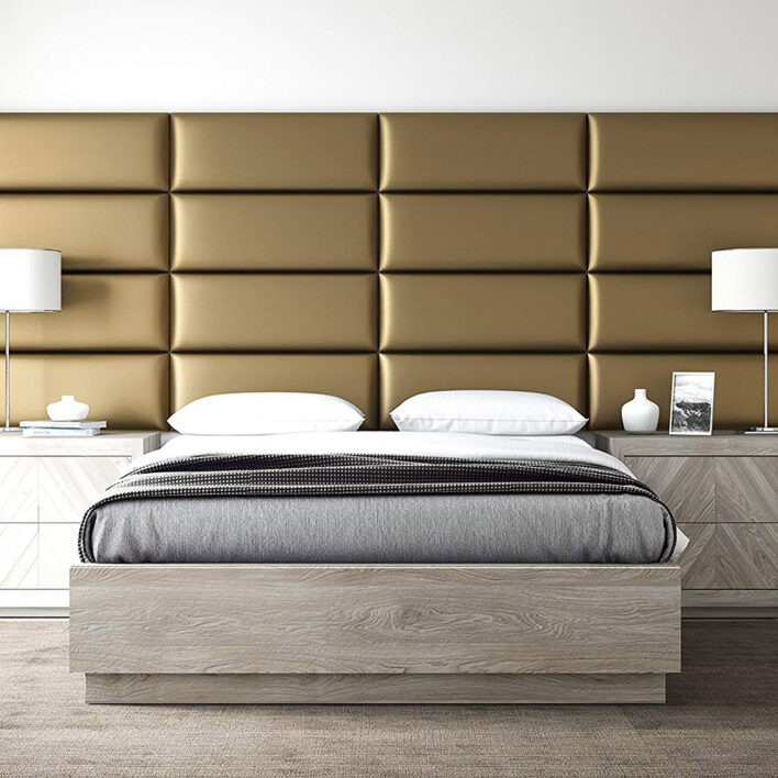 Panneau tete de lit or