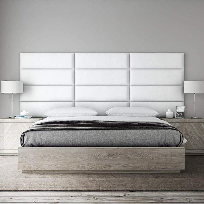 Panneau Tête de lit capitonnée Simili cuir blanc