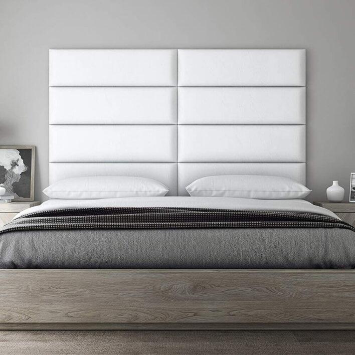 Habillage tete de lit cuir blanc
